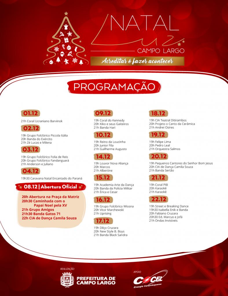 ilustração da programação de natal de Campo Largo que tem o apoio da Cocel