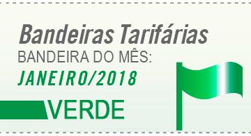 desenho de uma bandeira verde com os dizeres bandeira janeiro 2018 verde aneel