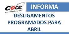logo da cocel com os dizeres cocel informa desligamentos programados para abril