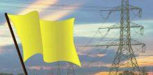 imagem da de uma bandeira amarela ilustrada com os dizeres sistema de bandeiras tarifárias bandeira amarela maio de 2018