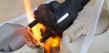 foto de fiação elétrica derretendo devido curto circuito
