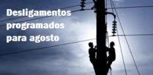 imagem ilustrativa de eletricista trabalhando com a legenda desligamentos programados para agosto cocel